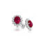 9ct Yellow Gold Lady Di Ruby Cluster Earrings