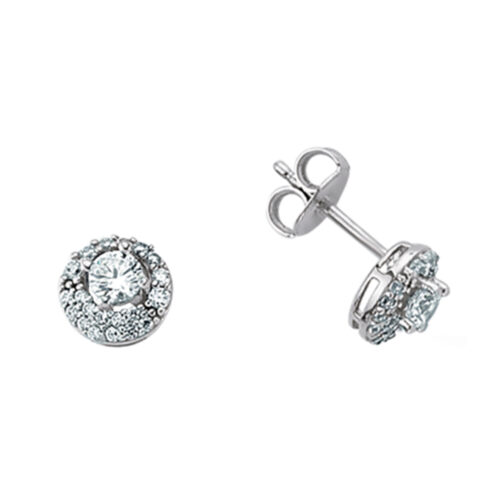 Rhodium Plated Sterling Silver with Cubic Zirconia