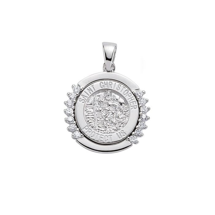 Sterling Silver Fancy St Christopher Medal & Chain