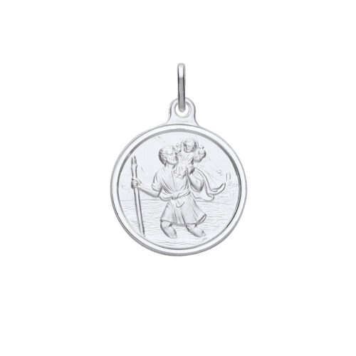 Sterling Silver St Christopher Round Medal & Chain