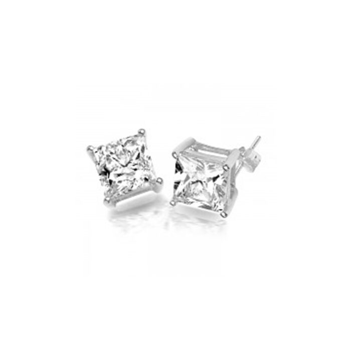 9ct White Gold Princess cut CZ Earrings