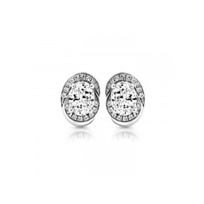 9ct White Gold Oval Earrings